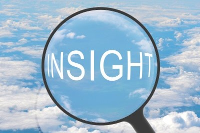 Revenue Per Search Look To Book Magnifying Glass Over Insights And Clouds